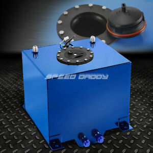 5 Gallon Blue Polished Aluminum Racing drifting Fuel Cell Gas Tank level Sender