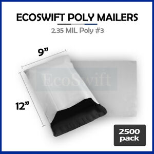 2500 9 X 12 White Poly Mailers Shipping Envelopes Self Sealing Bags 2 35 Mil