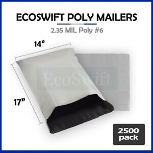 2500 14 X 17 White Poly Mailers Shipping Envelopes Self Sealing Bags 2 35 Mil