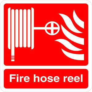 Aluminum Square Metal Sign Multiple Sizes Fire Hose Reel Red Weatherproof Street