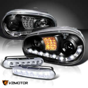 For 99 06 Vw Golf Gti R32 R8 Black Projector Led Signal Headlights Fog Lamps