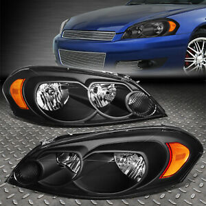 For 2006 2016 Chevy Impala Black Housing Amber Corner Bumper Headlight lamp Set