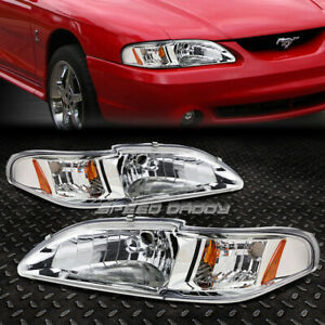 For 94 98 Ford Mustang Sn95 Chrome Housing Amber Corner Headlight Head Lamps