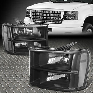 For 07 14 Gmc Sierra Black Housing Clear Corner Headlight Replacement Head Lamp