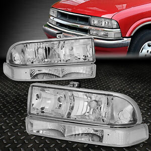 For 98 04 Chevy S10 Pickup Blazer Chrome Clear Corner Headlight Bumper Head Lamp