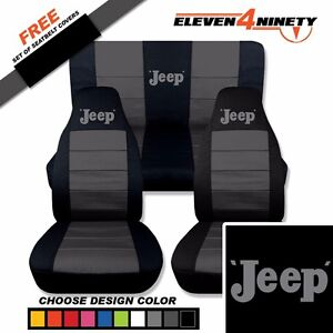 1997 2002 Jeep Wrangler Black Charcoal Seat Covers Old Jeep Design 9 Colors