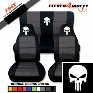 1997 2002 Jeep Wrangler Black Charcoal Seat Covers Punisher Skull 9 Colors