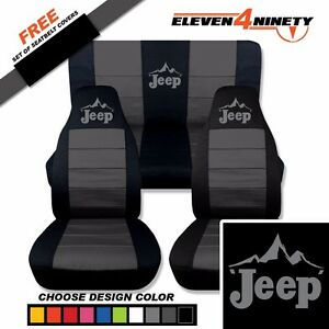 1997 2002 Jeep Wrangler Seat Covers Black Charcoal Jeep Mountain Scape