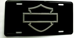 Harley Davidson Motorcycle Black Chrome License Plate Tag Silouhette Out Line