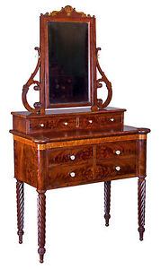 Swc Birds Eye Maple Dressing Table With Mirror Pulls Baltimore C 1820
