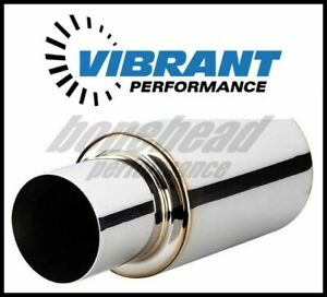 Vibrant 1062 Tpv Turbo Muffler W 4 Round Straight Cut Tip 3 Inlet 17 Long