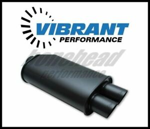 Vibrant 1149 Streetpower Flat Black Oval Muffler With Dual Tips 3 Inlet