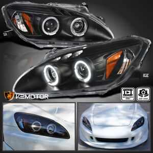 For 2000 2003 Honda S2000 Ap1 Hid Type Led Dual Halo Projector Headlights Black