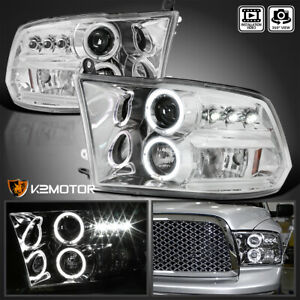For 2009 2018 Ram 1500 2500 3500 Led Halo Crystal Clear Projector Headlights