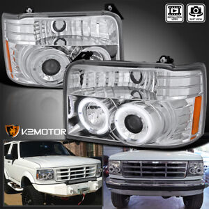 For 92 96 Ford Bronco F150 F250 F350 Chrome Halo Projector Headlights Corner