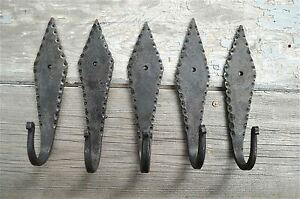 Set Of 5 Gothic Spearhead Design Hand Wrought Iron Coat Hooks Wall Hook Gs1