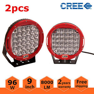 Pair Red Round 9 96w Cree Led Driving Spot Work Light 4wd Offroad Vs Hid 100w