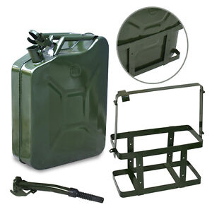 Jerry Can Fuel Emergency Backup Caddy Tank 5 Gal 20l Green W Holder