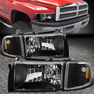 For 94 02 Dodge Ram 1500 2500 3500 Black Housing Amber Corner Headlight Lamps