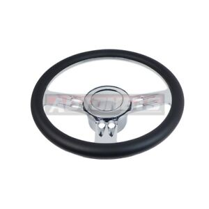 Black Steering Wheel Chrome Aluminum Horn Leather Camaro Impala Nova Hot Rod