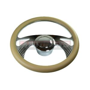 Beige Boomerang Gm Chevy Buick Leather Aluminum Steering Wheel Horn Button