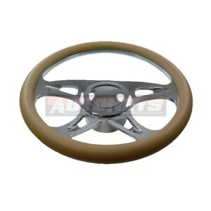 Beige Leather Carousel Chevy Gm Aluminum Steering Wheel Horn Button Adapter Set
