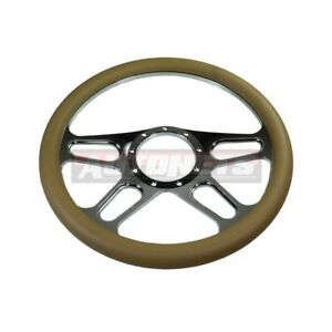 Beige Leather 4 Slot Chrome Aluminum Steering Wheel Street Hot Rat Rod Chevelle