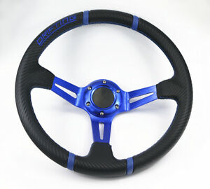 350mm Deep Dish Blue 3d Leather Blue St 6 Bolt Steering Wheel Horn Button