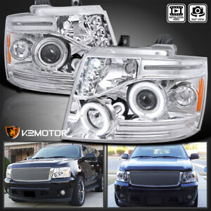 Fit 2007 2014 Chevy Tahoe Suburban Avalanche Led Halo Projector Headlights Pair
