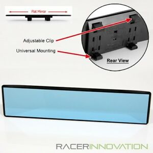 300mm Flat Blue Tinted Wide Angle Anti Glare Clip On Rear View Rearview Mirror