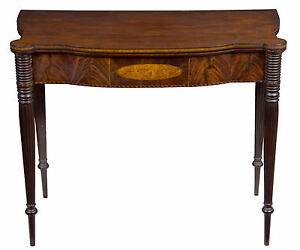 A Federal Sheraton Inlaid Card Table Portsmouth Ma C 1805 1810