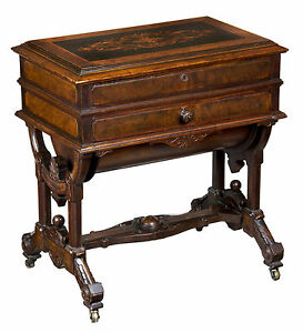 Swc Renaissance Revival Walnut Burl Walnut Dressing Table