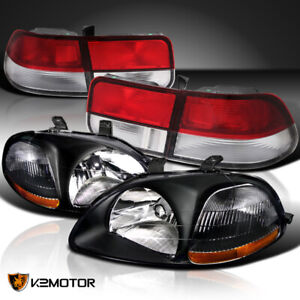 For 96 98 Honda Civic 2dr Black Headlights Red Clear Tail Brake Lamps