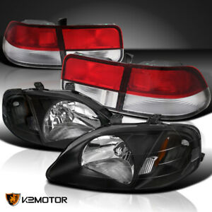 Fits Honda 1999 2000 Civic Coupe 2dr Black Headlights red Clear Tail Brake Lamps