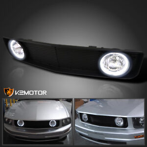 2005 2009 Ford Mustang V6 Black Front Hood Grill Grille W Clear Fog Lights