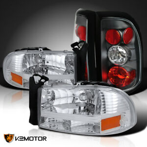 97 04 Dodge Dakota Chrome 1pc Style Headlights black Tail Brake Lamps