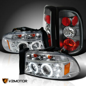 Dodge 97 04 Dakota Clear Dual Halo Led Projector Headlights black Tail Lamps