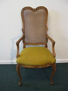 French Provincial Pecan Finish Wicker Back Arm Chair