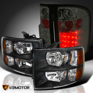 07 14 Silverado 1500 2500 3500hd Black Headlights Smoke Lens Led Tail Lamps