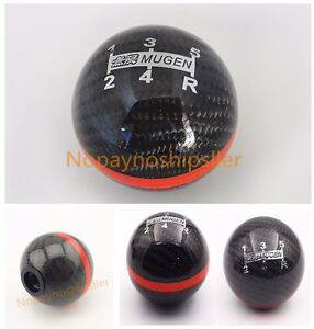 Jdm Racing Shift Knob Black Real Carbon Fiber Mugen 5 Speed S2000 Civic Wrx Sti