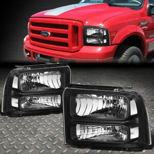 For 2005 2007 Ford Super Duty Black Housing Clear Corner Bumper Headlight lamp