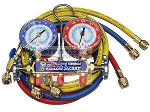 Yellow Jacket 42205 Manifold 3 1 8 Gauges 60 Hoses Psi R22 134a 404a f