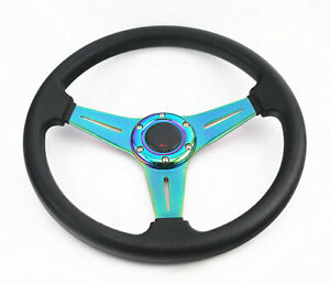 Black Pvc Teal Green Drift 6 bolt Racing Steering Wheel Jdm Horn Hub Adapter