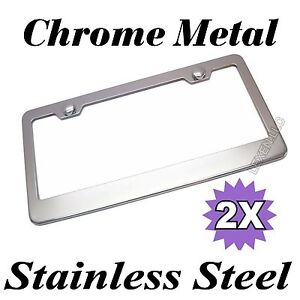 2pcs Chrome Stainless Steel Metal License Plate Frame Tag Cover Screw Caps cf 2