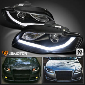 For 2006 2008 Audi A4 Black Bmw Style Led Strips Bar Projector Headlights Lamps