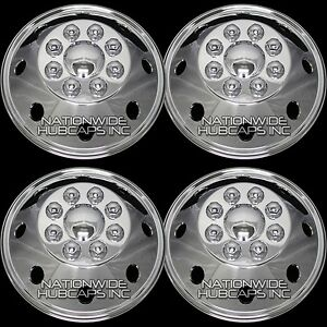 4 Chrome 16 Rv Motorhome Dual Wheel Simulators Rim Liner Covers Hubs Van Truck