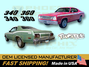 1973 1974 Plymouth Duster 340 360 Or Twister Complete Decals Stripes Kit
