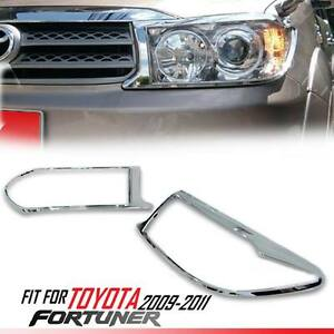 Chrome Front Headlight Lamp Abs Cover Trim Toyota Fortuner Kun60 Sw4 08 09 10 11
