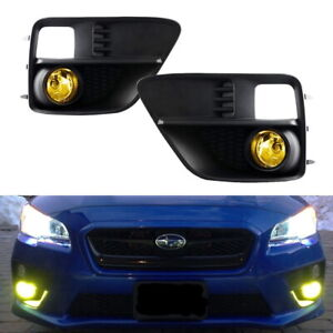 Complete Yellow Lens Fog Light Kit W Bezel Covers Wirings For 15 17 Subaru Wrx