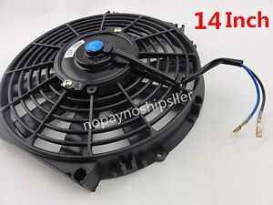 Universal 80w Slim 14 Pull push Car Radiator Engine Bay Cooling Fan mounting